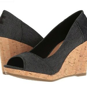 Tom's Stella Wedge black denim size 9.5 new